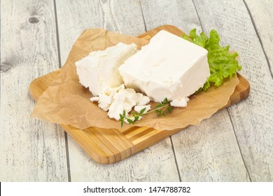Greek traditional Feta soft cheese in the plate