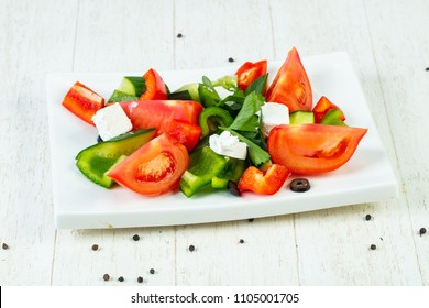 Greek traditional salad with feta cheese