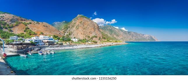 Greek village of Agia Roumeli, Chania, Crete, Greece.