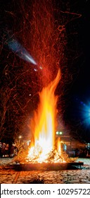 Greek village,its a tradition on this village they light a big fire for the last day of the carnival!