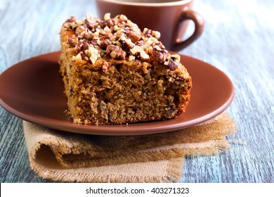 Greek walnut spice cake and cup of coffee