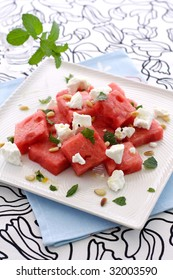 Greek watermelon feta cheese salad with mint and pine nut