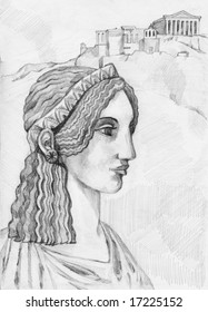 Greek woman (ancient style)- hand drawing