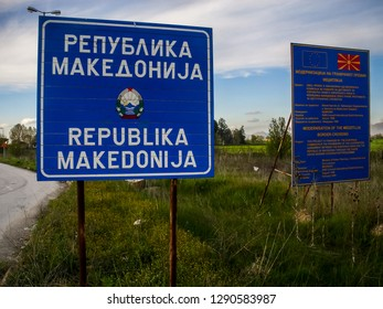 GREEK/MACEDONIAN BORDER - 04/13/2013 - The sign of the Republic of Macedonia, at the Greek/Macedonian border. The country will change its official name within a few days, and the sign will be removed