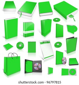 Green 3d blank cover collection, isolated on white