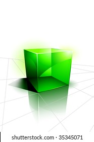 Green 3D Cube Design Background