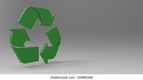 Green 3D Illustration Of A Recycle Sign Symbol On A Light Masked Transparent Background