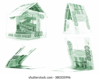 Green 5000 russian ruble set, rouble house isolated, white background
