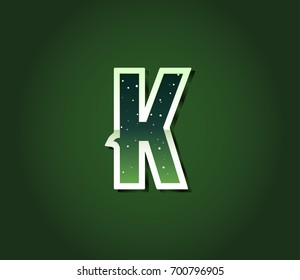 Green 80's Retro Sci-Fi Font with Stars Inside Letters. Alphabet Raster
