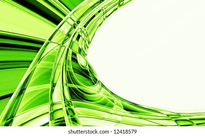 Green abstract fractal on white background