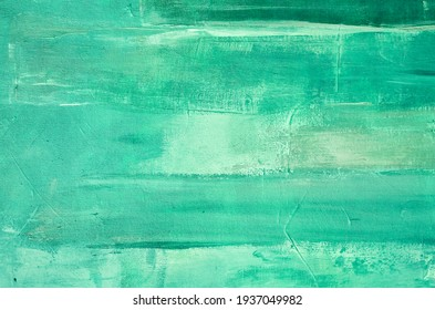 Green abstract oil painting on canvas