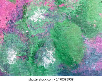 green abstract splashes of chalk design on concrete