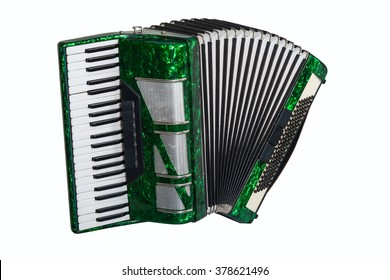 green accordion isolated on white background