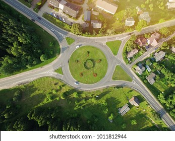 Green aerial roundabout - Junction birds eye view