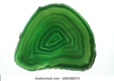 green agate gem stone isolated closeup background