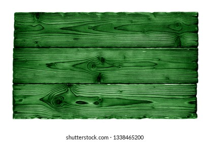 green aged wood board isolated