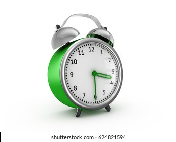 Green alarm clock show 3 hours and 30 minutes. 3d rendering isolated on white background