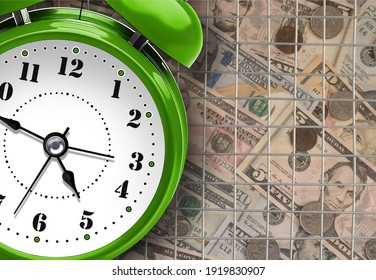 Green Alarm Clock as a tax reminder symbol. Bars as a symbol of prison for unpaid tax on time or hiding income from the Tax Office.