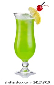 Green alcholol cocktail in hurricane isolated on white