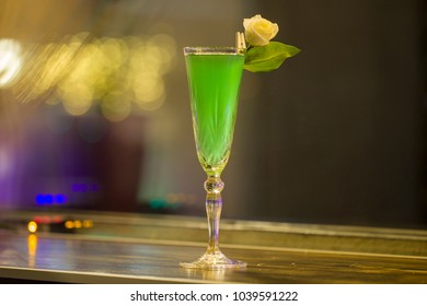 Green alcohol cocktail, close up