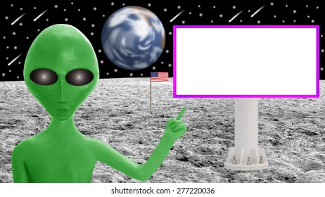 Green alien and blank billboard on the Moon