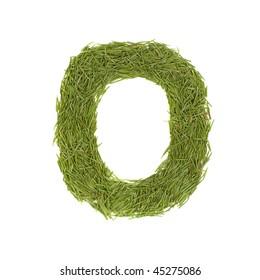 Green alphabet, letter O isolated on white