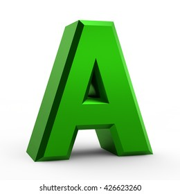 A green alphabet word on white background illustration 3D rendering