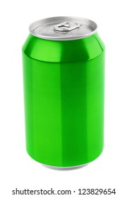 Green aluminum can 330 ml isolated on white with clipping path