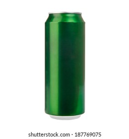 Green aluminum can isolated on white. Photo