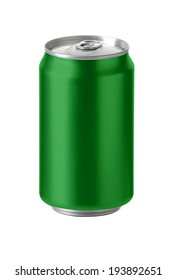 Green aluminum cans with blank copy space, ideal for beer, lager, alcohol, soft drink, soda, lemonade, cola, energy drink, juice, water etc., Realistic photo image,