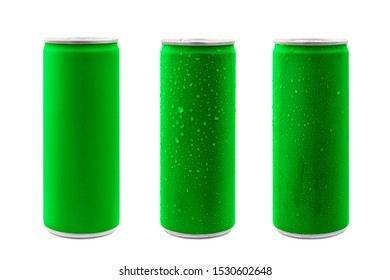 Green aluminum cans isolated on white background with clipping path.Blank package no brand for sparkling water or soft drinks concept.