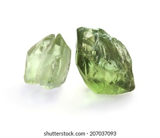 Green amethyst crystals on the white background.