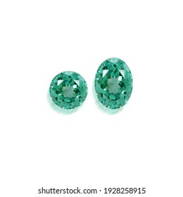 Green Amethyst round and oval shape on white background