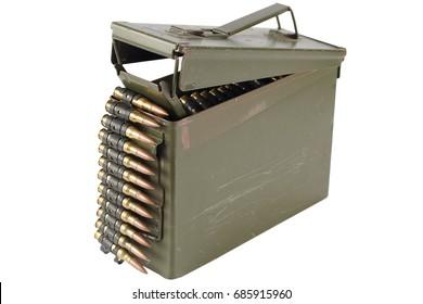 Green Ammo Box with ammunition belt