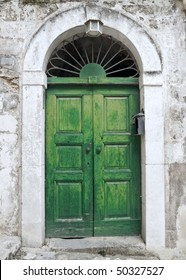 Green ancient frontdoor.