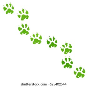 Green animal footprint isolated on white background