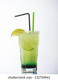 Green Apple cocktail on white background