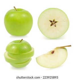 Green apple collection isolated on white background (set)