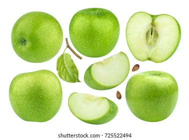 Green apple collection isolated on white background with clipping path