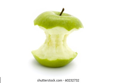 green apple core on a white background