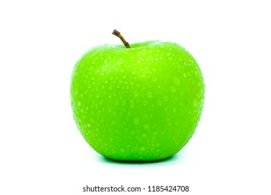 Green apple with drop water on white background
