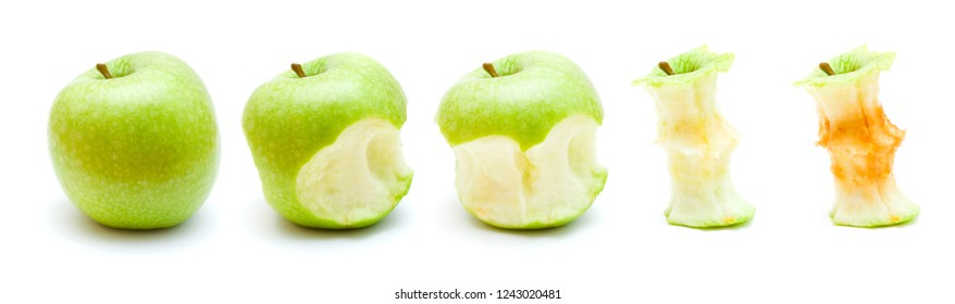 green apple eating progression isolated on white