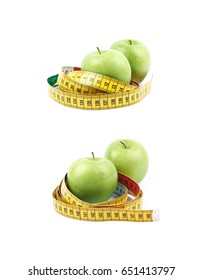 Green apple fruit tied with the dieting measuring tape, composition isolated over the white background, set of two different foreshortenings