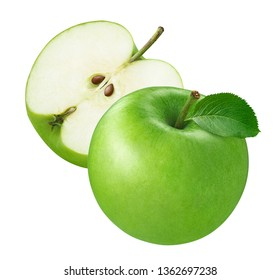 Green apple and half isolated on white background. Package design element with clipping path