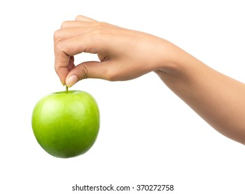green apple in hand isolated on white background