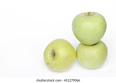 Green apple for healthy on white background.