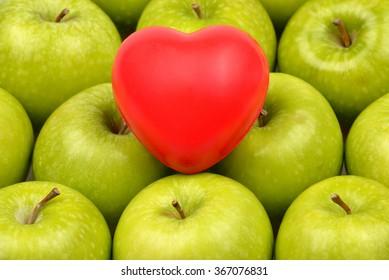 Green Apple , Heart Shape , Healthy Eathing