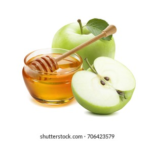 Green apple and honey jar for jewish new year isolated on white background