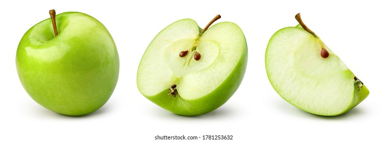Green apple isolate. Apples on white background. Whole, half, slice green apple set with clipping path.