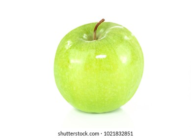 Green apple isolated on white background in close-up
